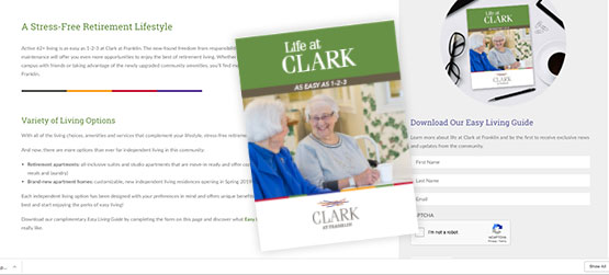 Samples of website and brochure