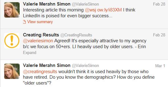 LinkedIn older user base - discussion with Valerie Simon