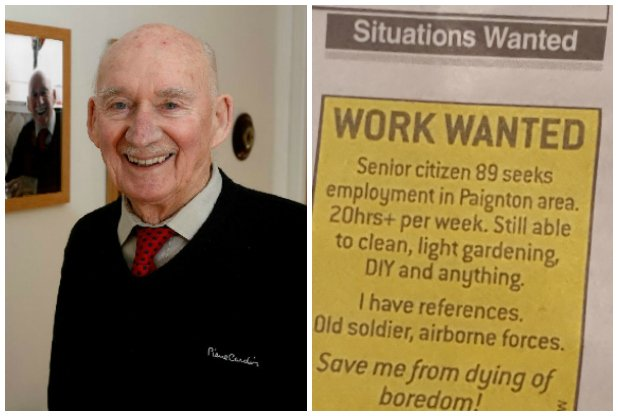 UK 89 year old veteran seeks employment