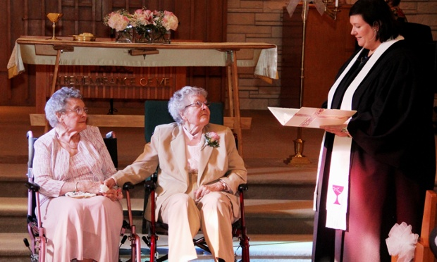A 90 year old couple weds in Iowa after seven decades together. AP Photo Credit: Thomas Geyer / Quad City Times.
