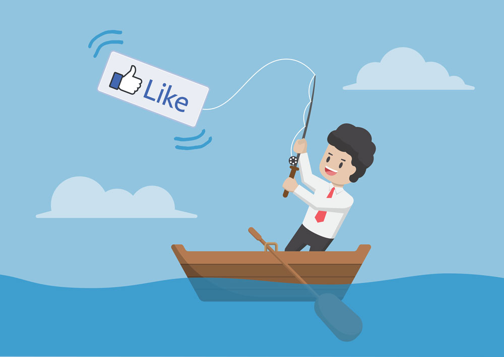 Cartoon on man fishing with Like symbol on his fishing line
