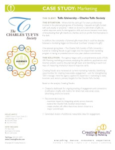 case study - 50 plus marketing audit, strategy for Tufts University Planned Giving