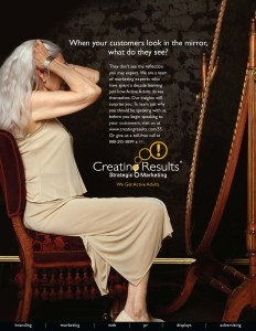 Active adult marketing Ad - older woman in mirror