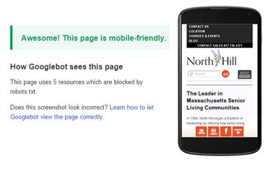 Websites for older adults must be mobile friendly. Google message showing mobile friendly.