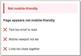 Message that appears if a website for older adults is not mobile friendly, per Google.
