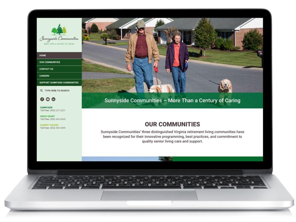 Sample web design (flat design) for a retirement community