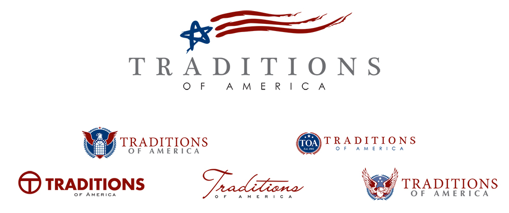 Logo explorations for Traditions of America, 55 plus community developer