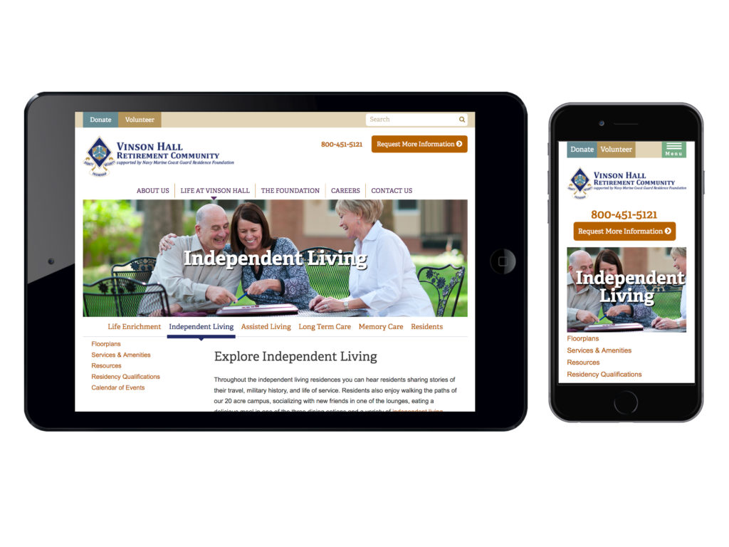 Responsive web design sample - retirement community