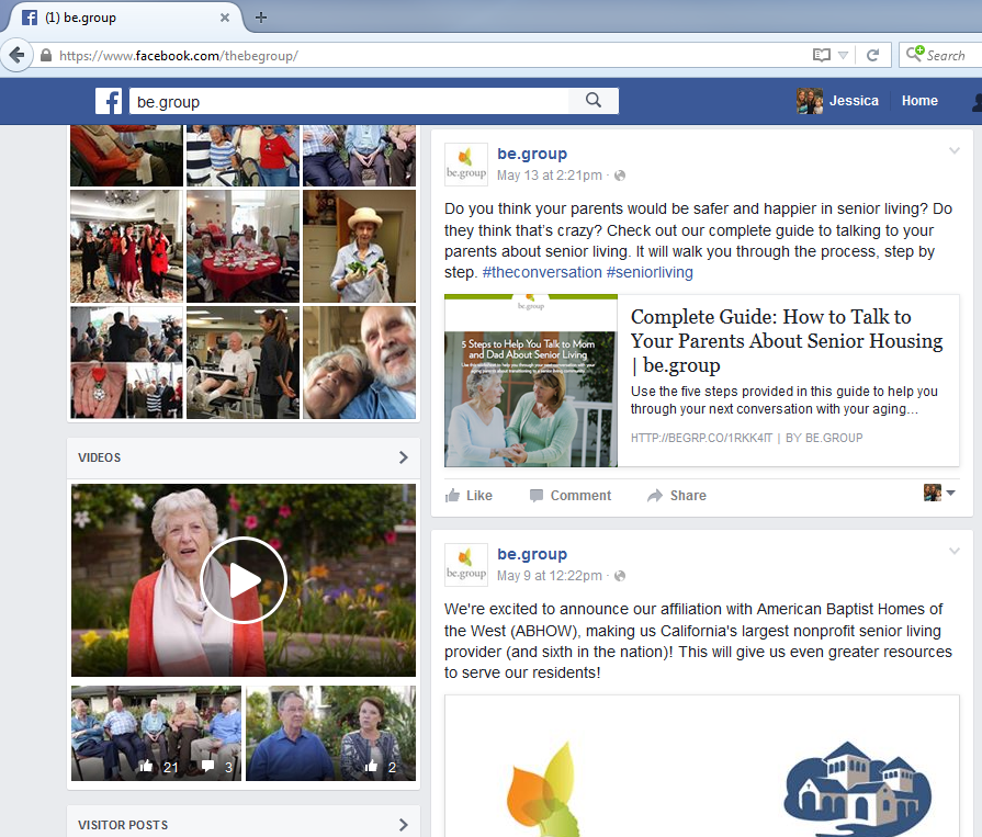 Senior living marketing images - Facebook - The Be Group