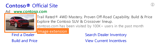 Bing PPC text ad with image extension