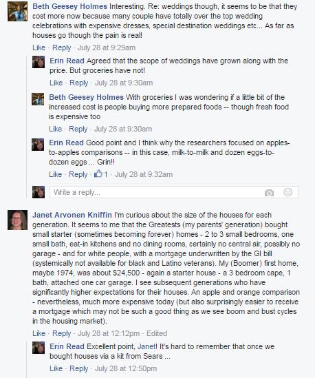 Facebook conversation regarding cost of groceries, homes, weddings by generation