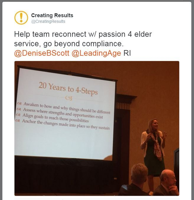 Consultant Denise Boudreau-Scott at 2016 LeadingAge RI conference, on employee engagement.