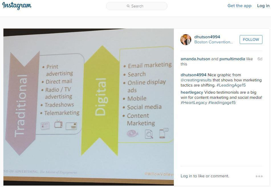 Dan Hutson - instagram post - Creating Results, Marketing Trends, at LeadingAge 2015 conference
