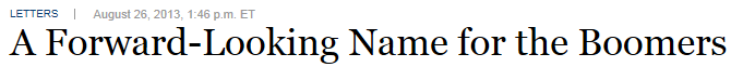 new name for baby boomers- WSJ headline