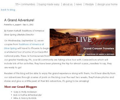 Traditions of America residents shared their grand canyon travel experiences on the corporate blog.