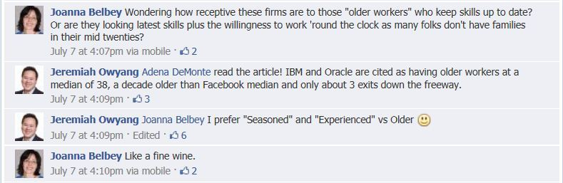Snippet Facebook conversation re age of technology workers