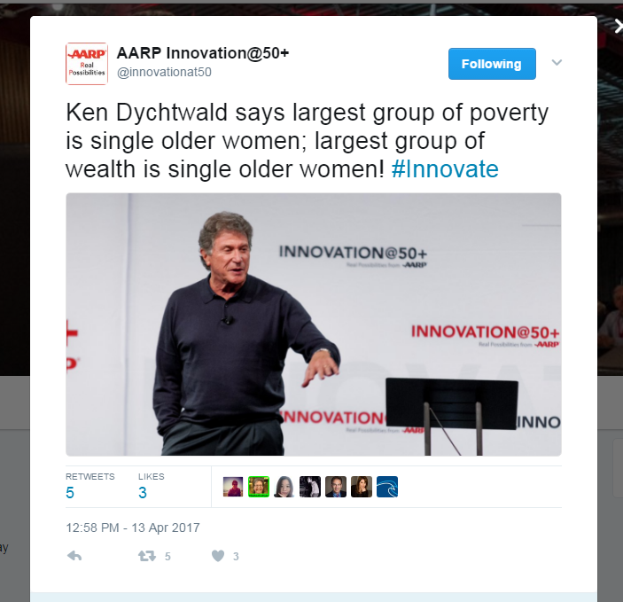 ken dychtwald at AARP event - single older women, wealth and poverty