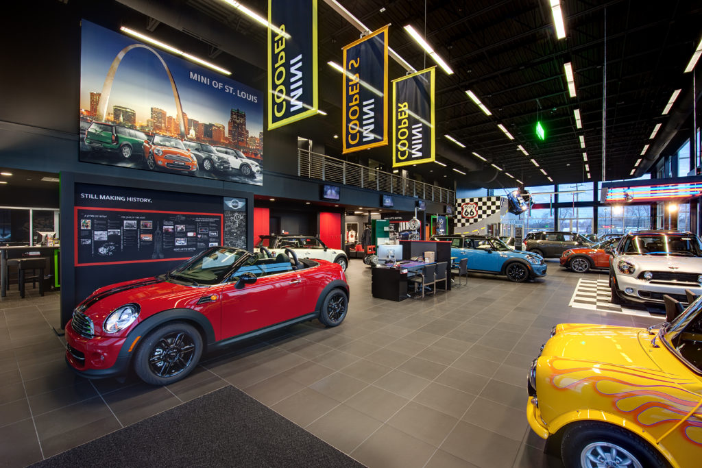 Mini Cooper sales centers are colorful, playful, consistent with brand experience