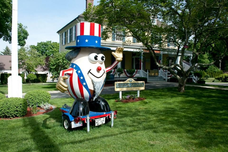 Customized for Bristol, RI's 4th of July celebrations, Mr. Potato Head spends much of the year at the local senior center.