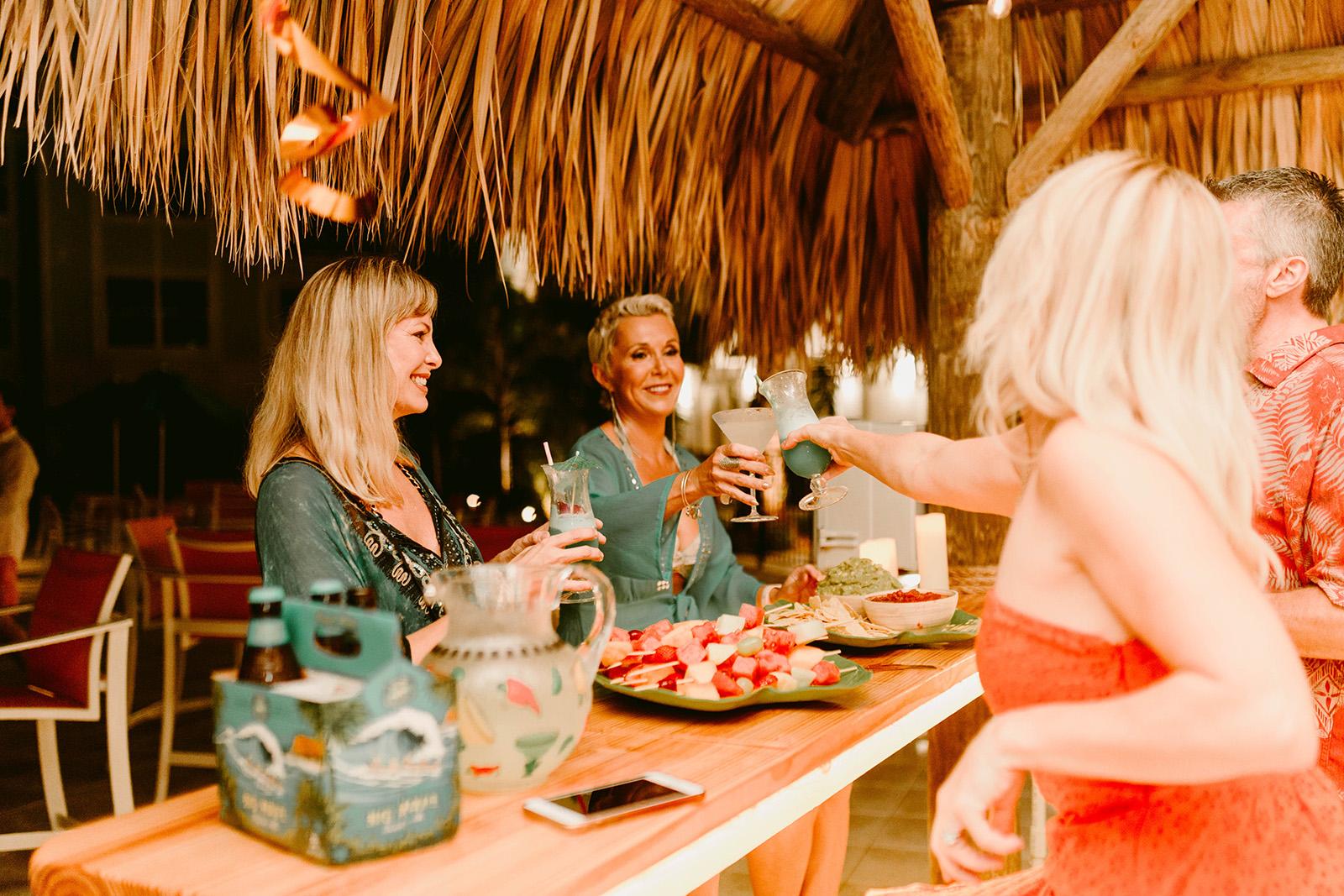 Ladies drinking at cabana bar