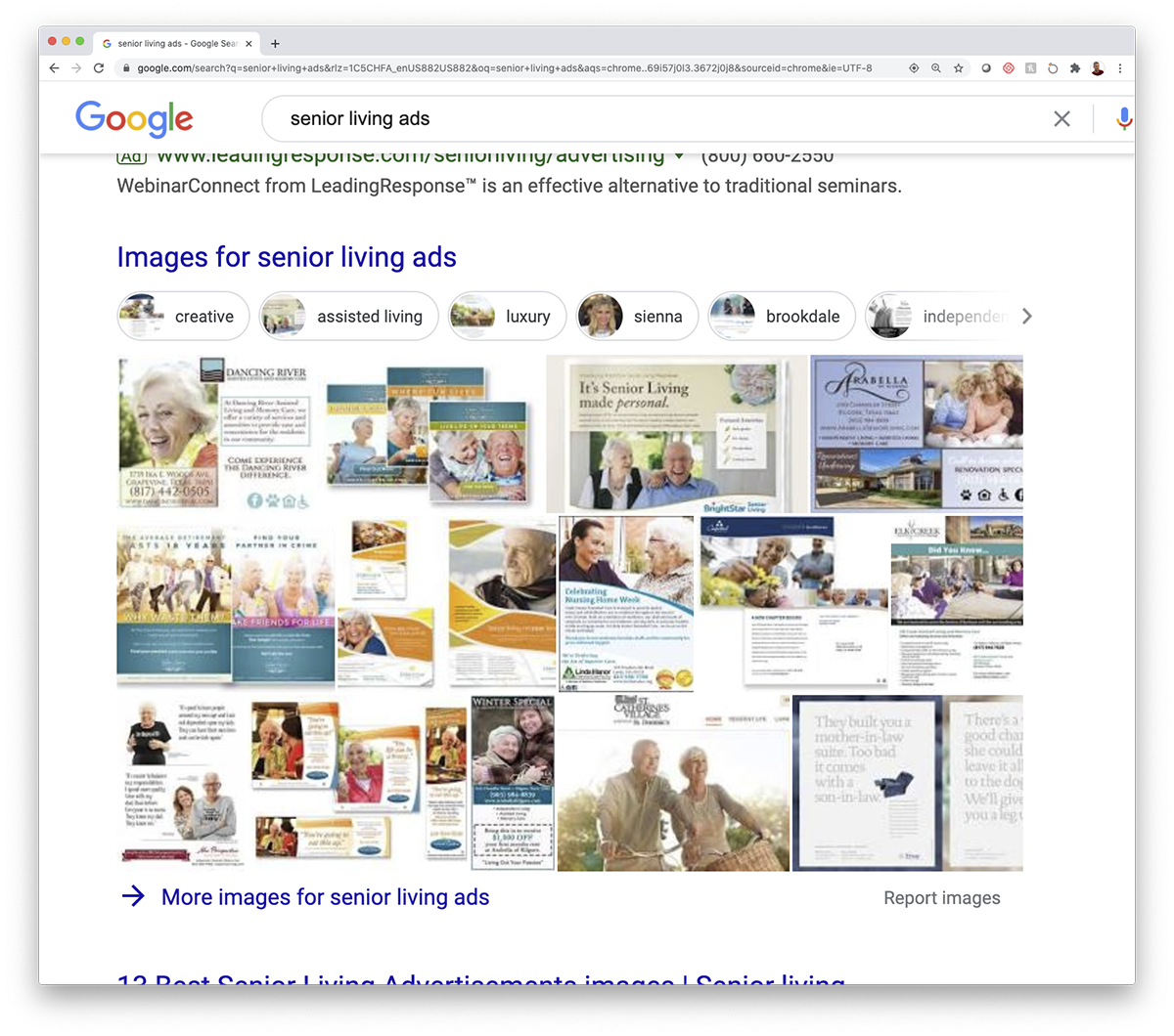 examples of senior living ads from Google