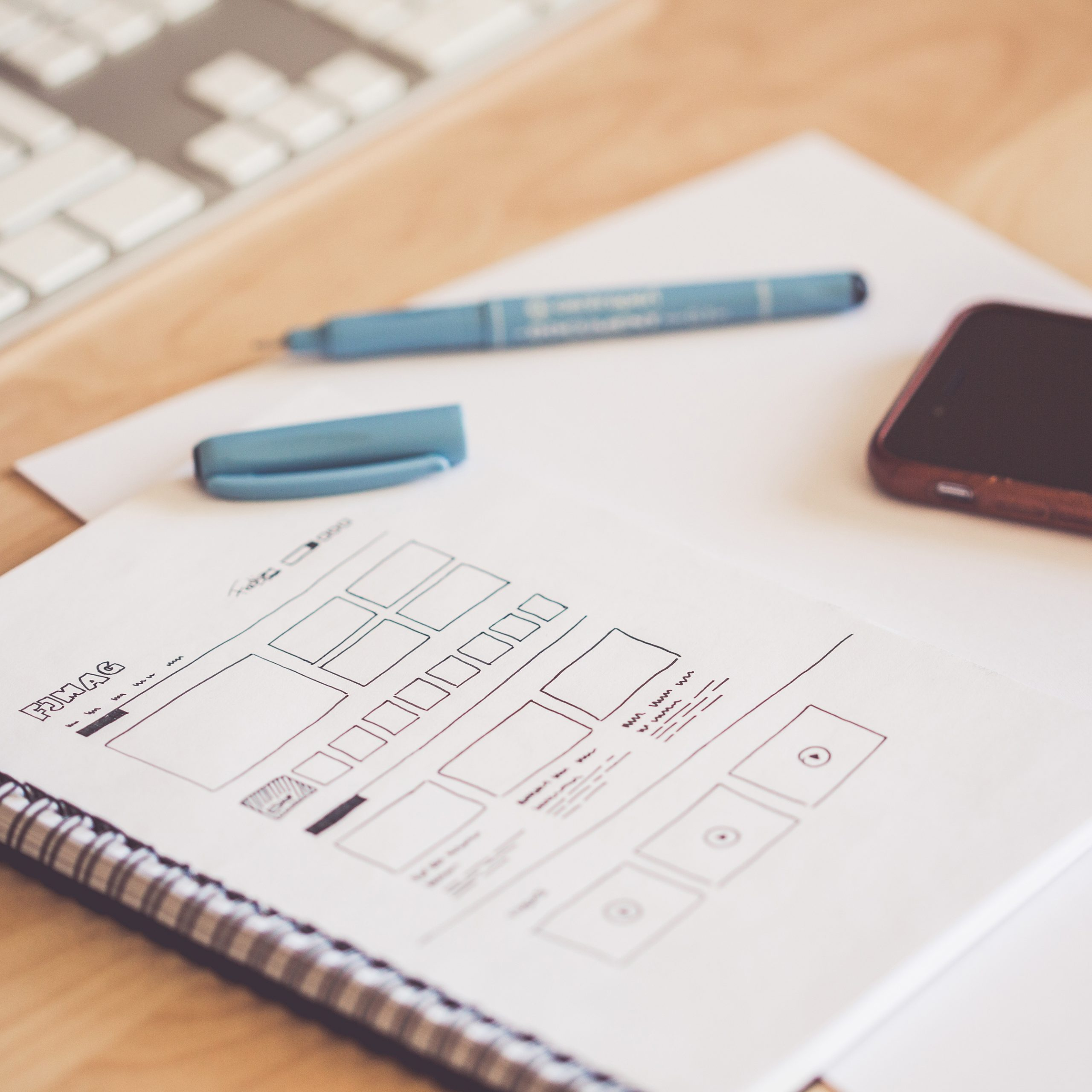 wireframing sketch for website