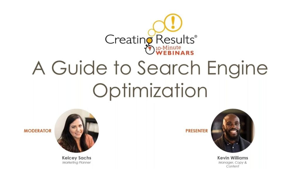 title screen from webinar - A Guide to Search Engine Optimization